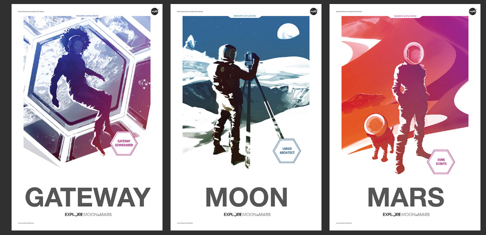 Series of three posters showing astronauts in space, on the Moon and on Mars. The Mars one has a dog in spacesuit, too.
