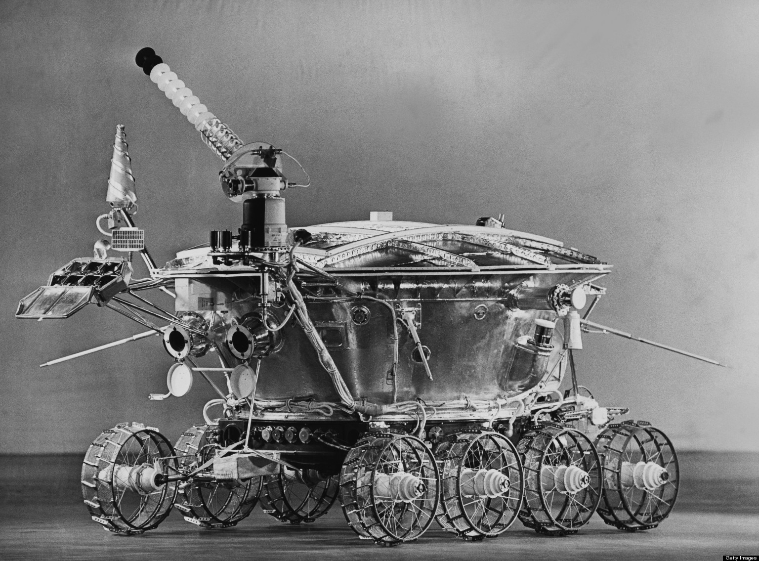 Black and white image of a rover.
