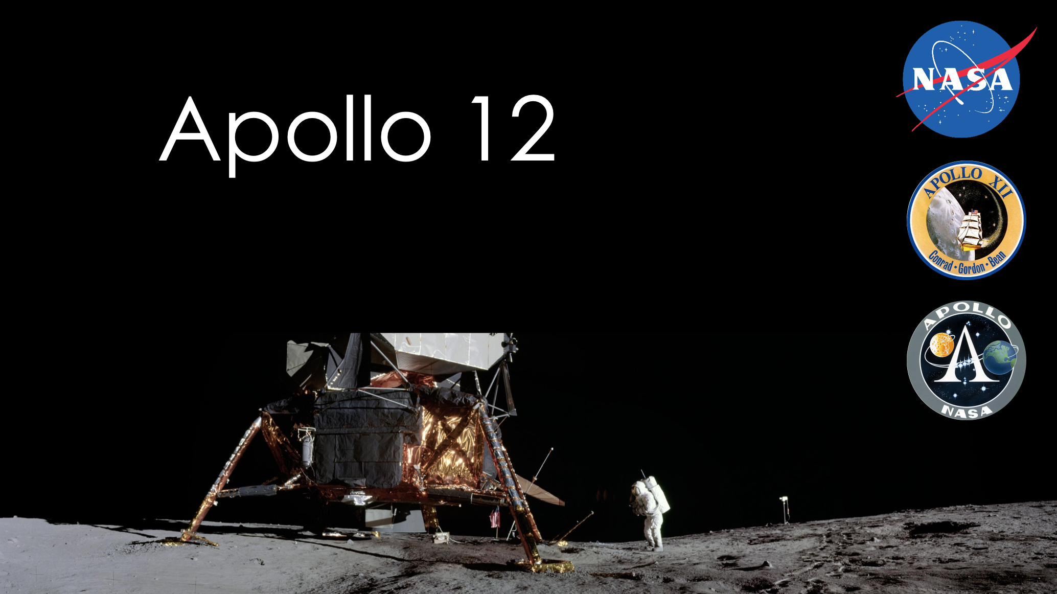 Presentation slides about Apollo 12. All slides are ADA compliant.