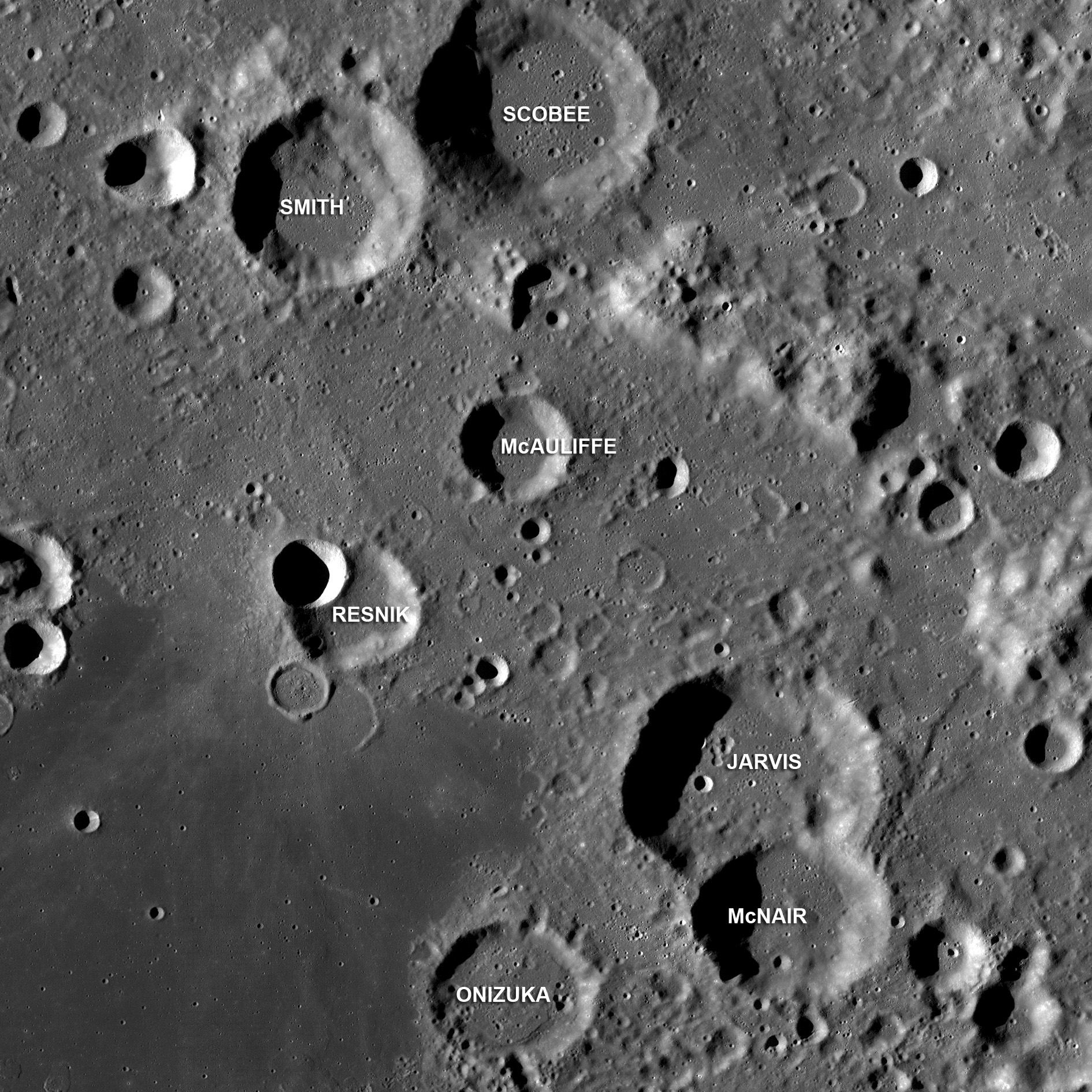 Image of the Moon with seven craters named after the crew of the lost Challenger Space Shuttle - Gregory Jarvis, Christa McAuliffe, Ronald McNair, Ellison Onizuka, Judith Resnick, Dick Scobee, and Michael Smith.
