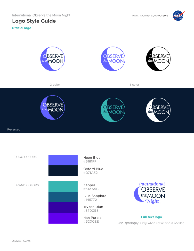 Logos and Style guide for usage for International Observe the Moon Night.