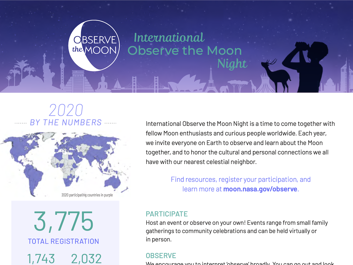 Screen shot of beginning of International Observe the Moon Night 2020 summary document.