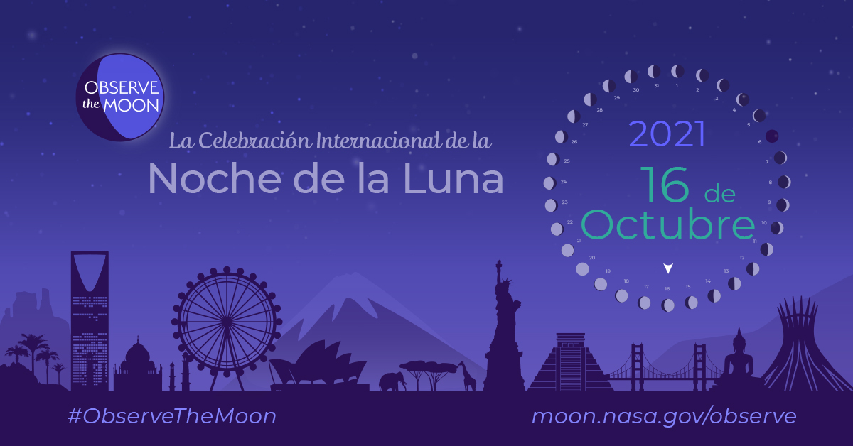 Imagined landscape featuring landmarks from around the world, with information about International Observe the Moon Night.