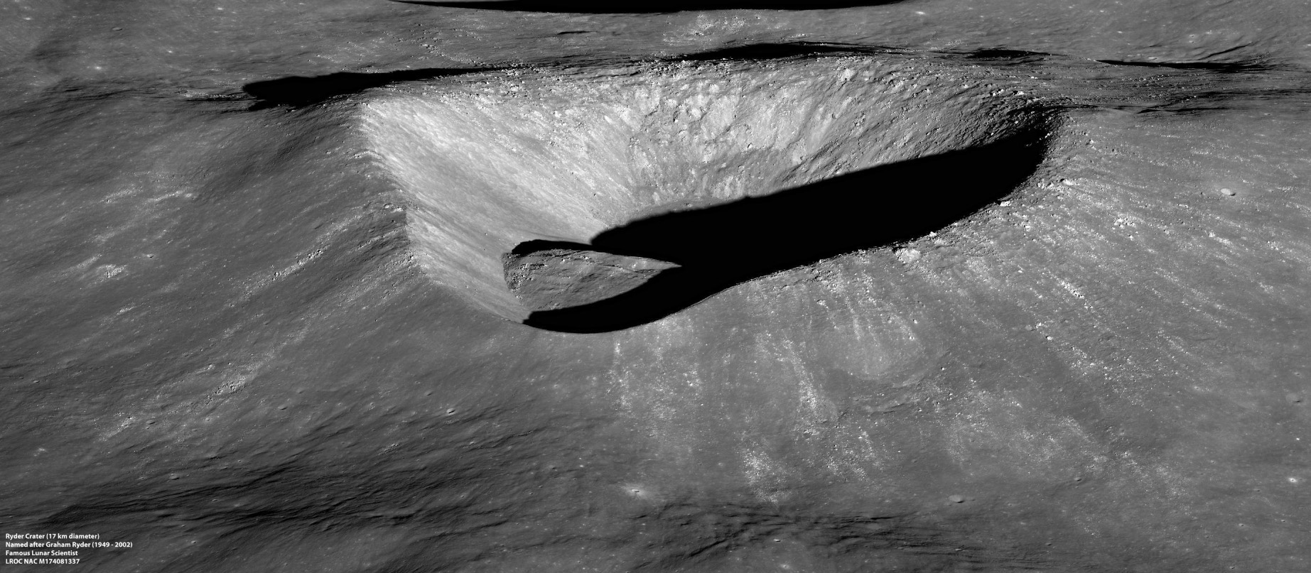 Photo of earth's moon crater Ryder