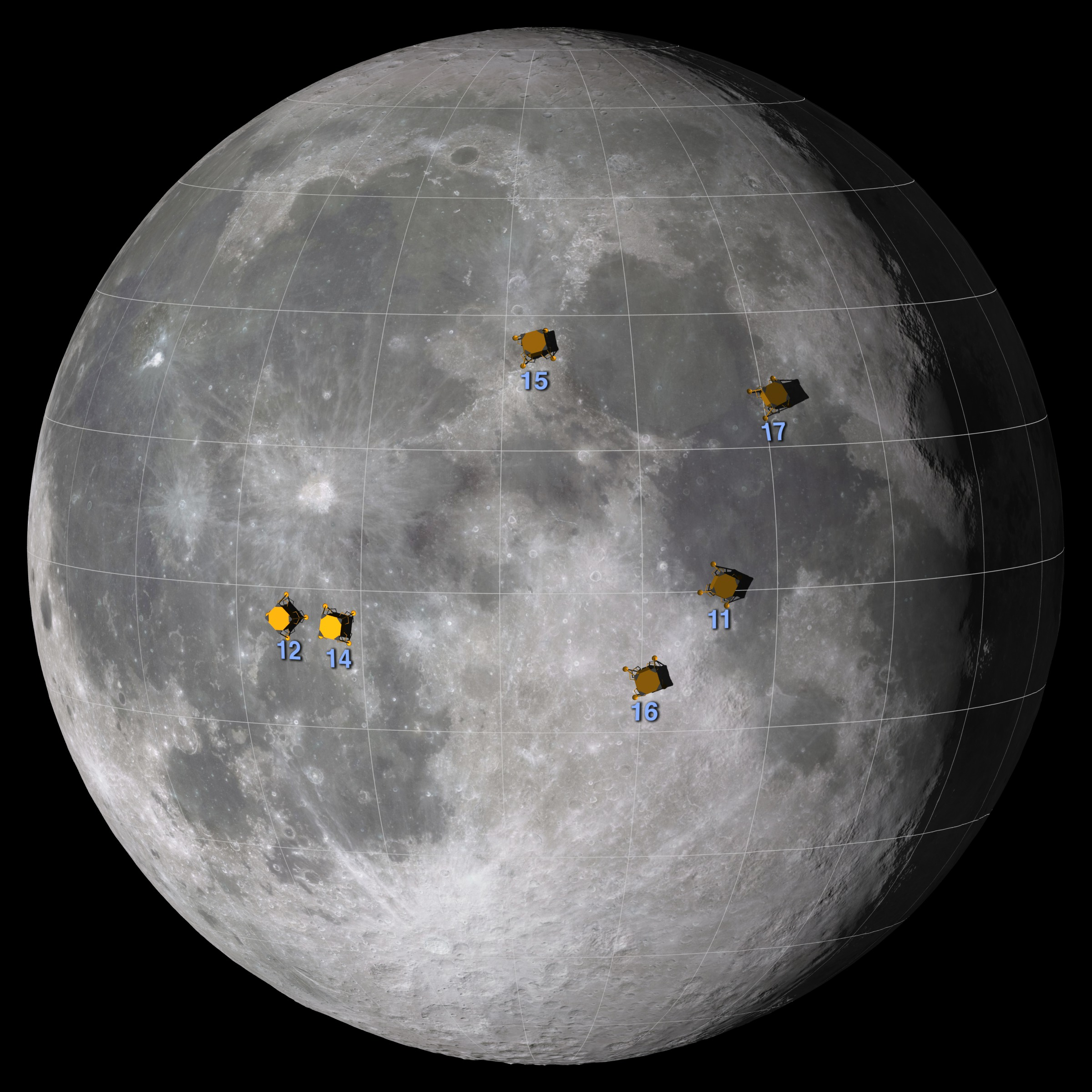 Graphic showing Apollo landing sites on the nearside of the Moon.