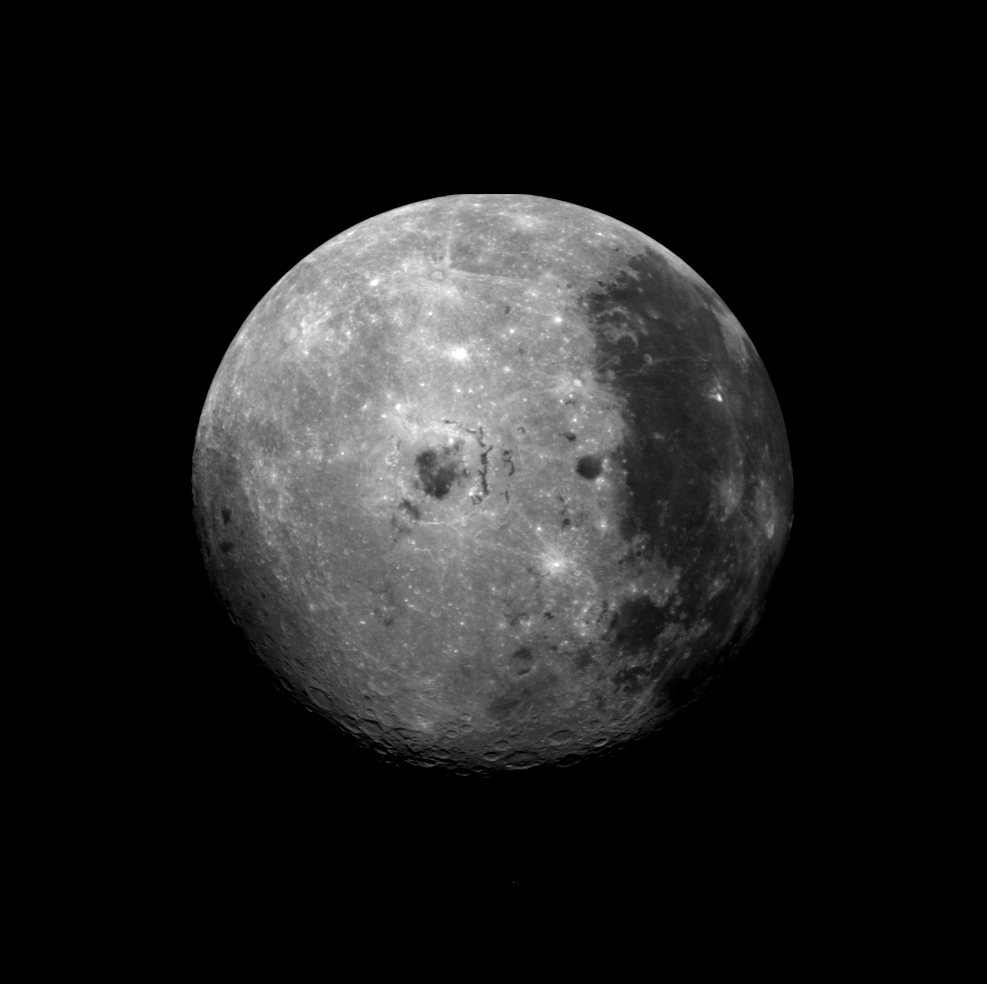 Image of the Moon as the Galileo spacecraft passed the Earth