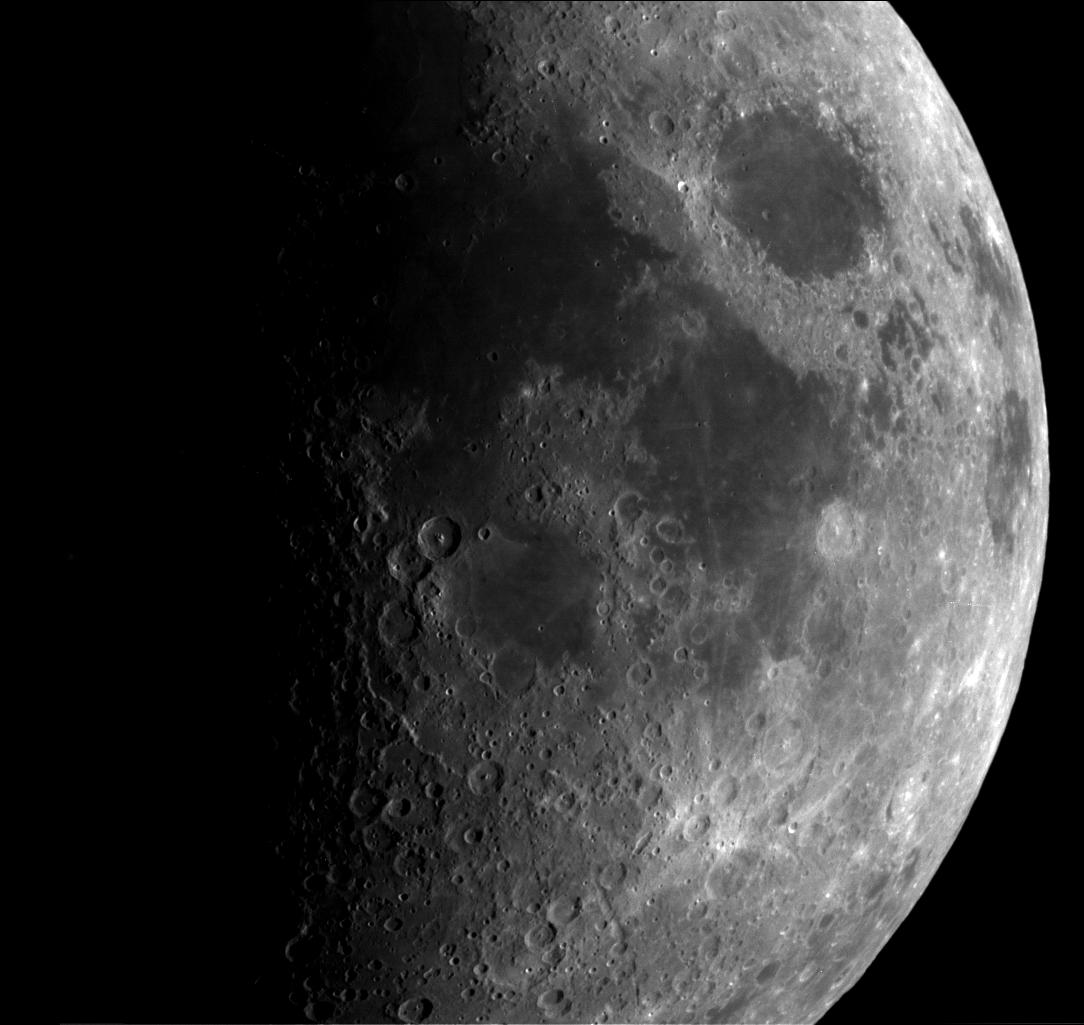 close view of the Moon's rugged surface
