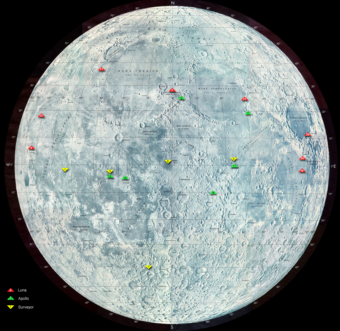This image shows the locations of many spacecraft that have landed on the moon.