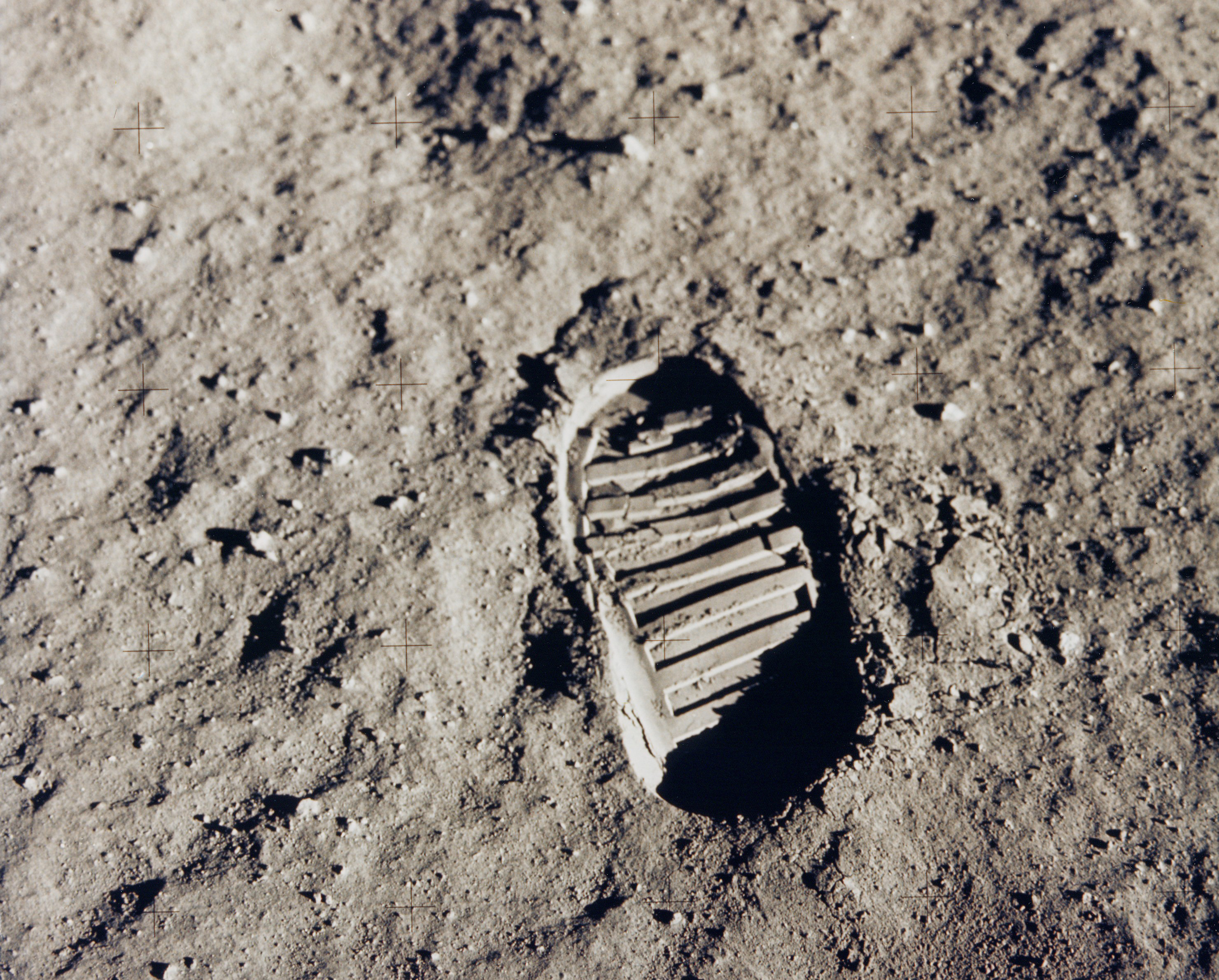 This bootprint marks one of the first steps human beings took on the moon in July 1969.