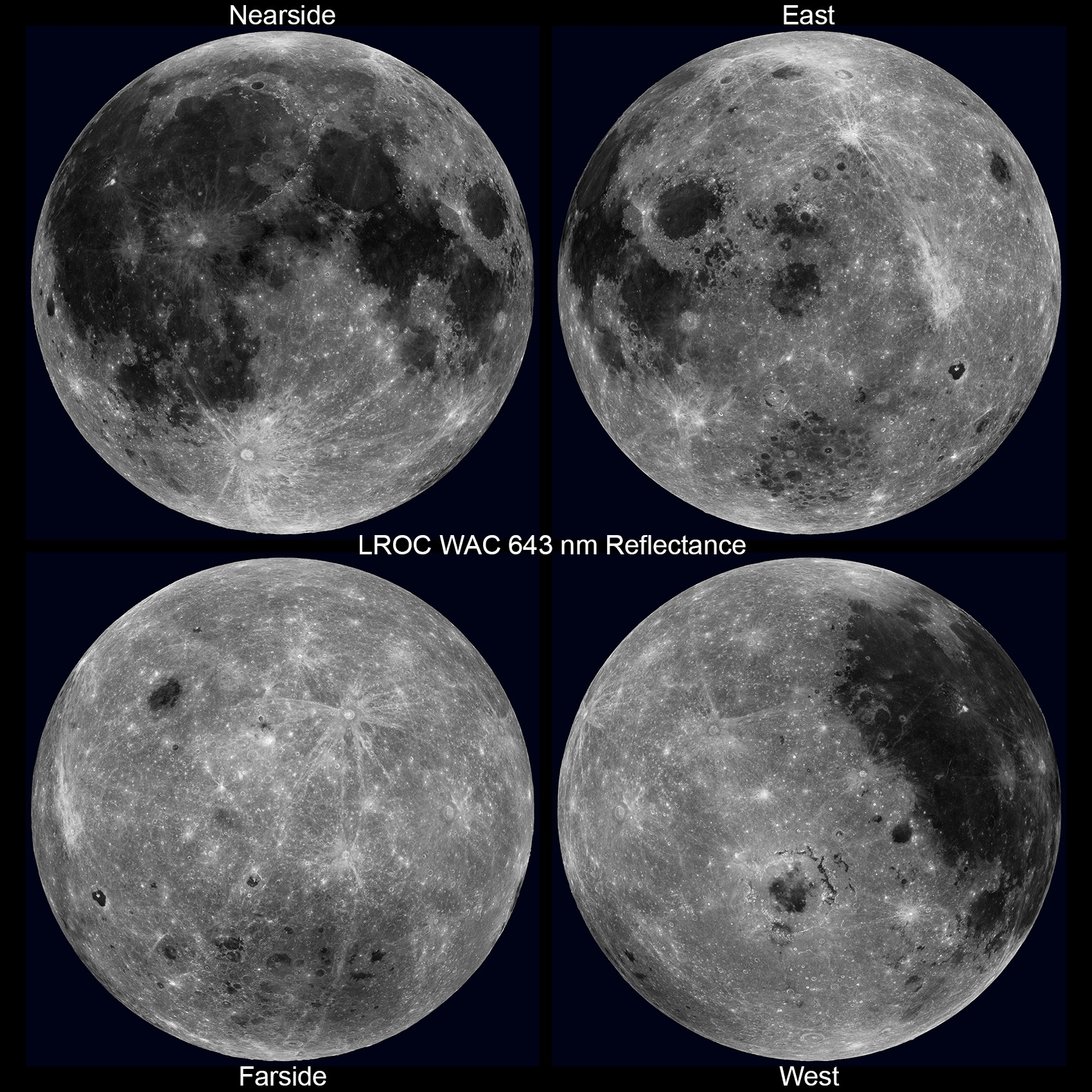 four full-disc views of the moon
