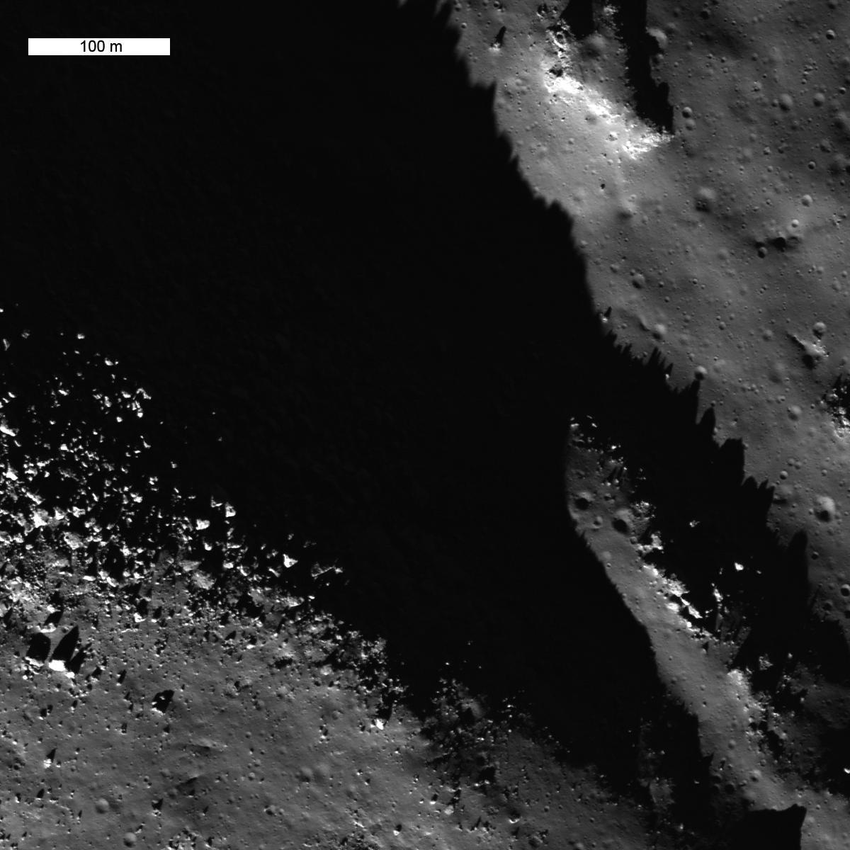 shadowy depths and brightly-illuminated rocks on the Moon